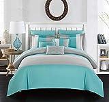 Chic Home 10 Piece Ayelet Comforter Set, King, Turquoise