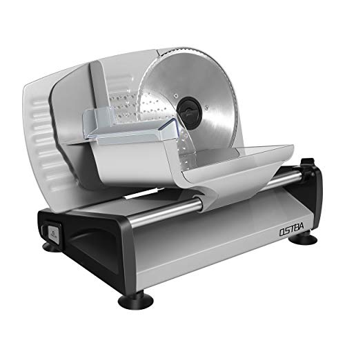 Meat Slicer Electric Deli Food Slicer with Child Lock Protection, Removable 7.5'' Stainless Steel Blade and Food Carriage, Adjustable Thickness Food Slicer Machine for Meat, Cheese, Bread (200W)