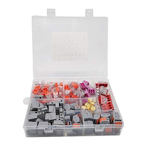 AIRTAK Lever Nuts, Wire Connector Assortment Pack Compact Splicing Connector Lever Nut Kit for Electrical Wires Solid Stranded Flexible Wires 210pcs/box 5-room-set