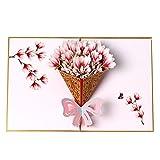 Carte de vœux 3D en forme de bouquet de fleurs, carte d'anniversaire, de remerciement, fête des mères, cartes de Noël