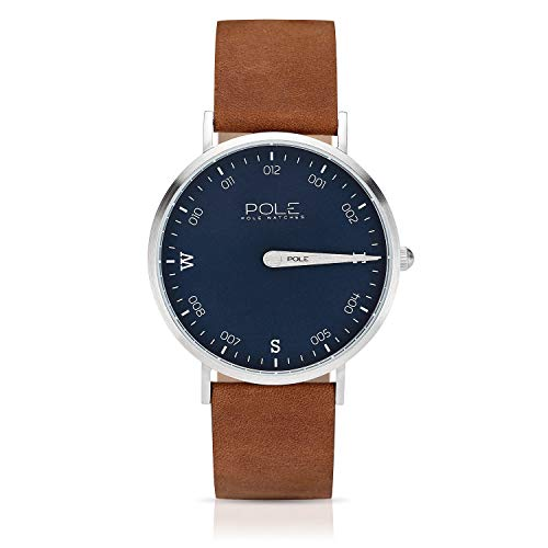 Pole Watches Herren Quarz Analoge Einzeigeruhr in Blau und Lederarmband in Kamel | Modell Compass Livid B-1001AZ-MA04