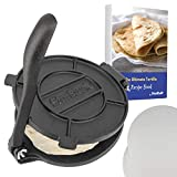 8 Inch Cast Iron Tortilla Press by StarBlue with FREE 100 Pieces Oil Paper and Recipes e-book - Tool to make Indian style Chapati, Tortilla, Roti