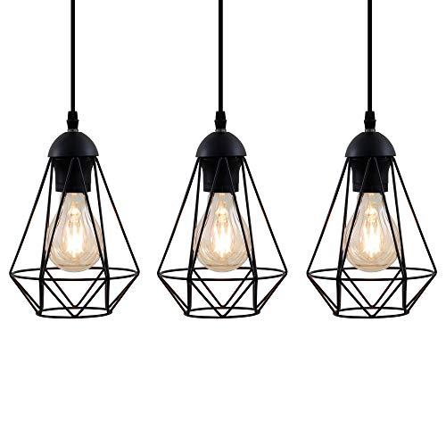 Lampadario vintage, 3 punti luce, adatto per lampadine E27 non incluse max 40W, metallo nero,...