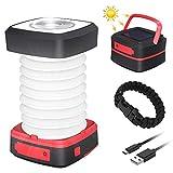 GlobaLink Lampe Camping Solaire Lanterne LED Rechargeable 2 en 1 Extérieur...