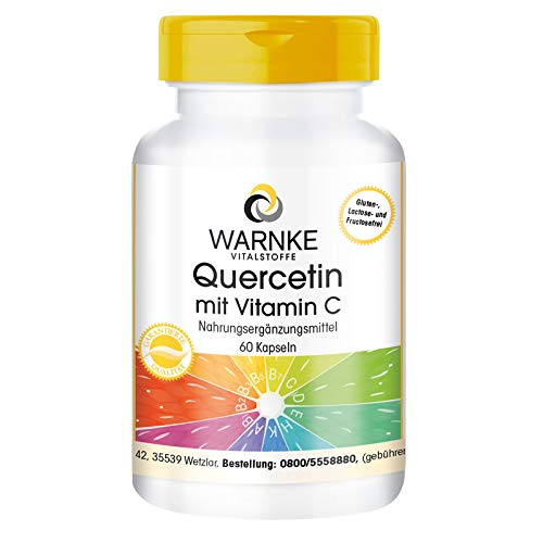 Quercetin mit Vitamin C - 500mg Quercetin pro Tagesdosis - hochdosiert & vegan - 60 Kapseln