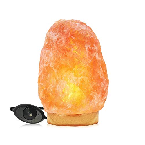 Himalayan Glow Natural Pink Salt Lamp,Night Light,Hand Carved Crystal Salt Lamp with Wooden Base,Salt Lamp Bulb,(ETL Certified) Dimmer Switch | 11-15 LBS