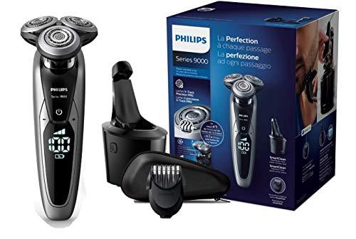 PHILIPS S9711/32 Rasoir Electrique avec Système SmartClean Plus, Autonomie 60 min et Tondeuse Barbe Clipsable