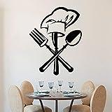 Ajcwhml Cocina Restaurante decoración Pegatinas de Pared vajilla Creativa Cuchillo y Tenedor Gorro de Chef calcomanía Mural Papel Tapiz decoración del hogar Pegatinas - 58X68CM