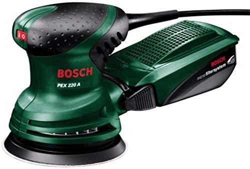 Ponceuse excentrique Bosch - PEX 220 A (Livré avec 1 feuille abrasive K 80 Ø 125 mm, boîtier microfiltre, taux d'oscillation 4 000 - 24 000 tr/min)