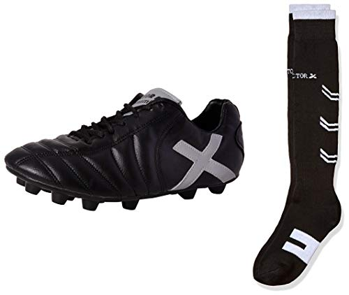 Vector X Dynamic 001 Football Shoes, Men's UK 4 (Black/Silver) & Vector X BL-5 Blend Soccer Socks, Adult One Size (Black) Combo