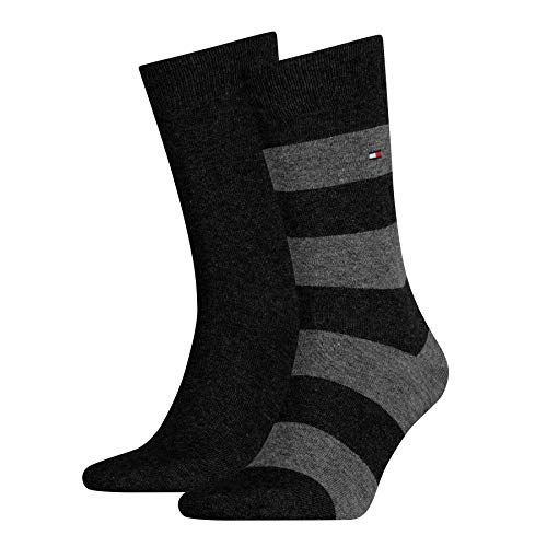 Tommy Hilfiger Th Men Rugby Sock 2 Paia - Calzini, uomo, Nero (Schwarz (Black)), 43/46