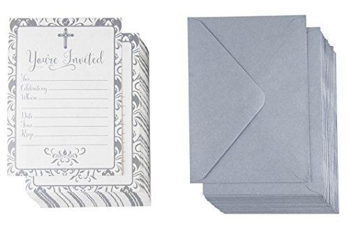 Religiöse Einladungskarten, silberfarbenes Kreuz und Blumenmuster, ideal für Beerdigung, Taufe, Kirche, Veranstaltungen, Umschläge mit V-Klappe, 12,7 x 17,8 cm, 60 Stück