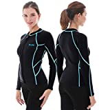 GoldFin Women's Wetsuit Top, 2mm Neoprene Wetsuit Jacket Long Sleeve Front Zip Wetsuit Shirt for Swimming Water Aerobics Diving Surfing Kayaking (Black/Aqua Stripes, M)