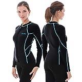 GoldFin Women Wetsuit Top, 2mm Neoprene Ladies Wetsuit Jacket Long Sleeve Wetsuit Shirt for Paddlering Water Aerobics Diving Surfing Kayaking (Update Black with Stripes, XL)