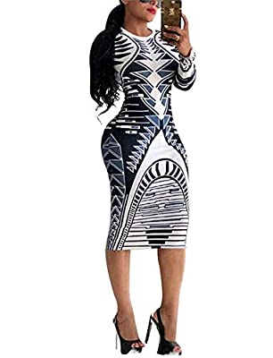 Feature:Elegant midi dresses for women,Long Sleeve,African printed,Sexy,Stretchy bodycon club long dress,Sheath dresses Occasion: Suitable for Club, Nightclub, Party, Night Out, Clubwear, Cocktail, Casual, Evening, Special Occasion, Daily Wear and Ot...