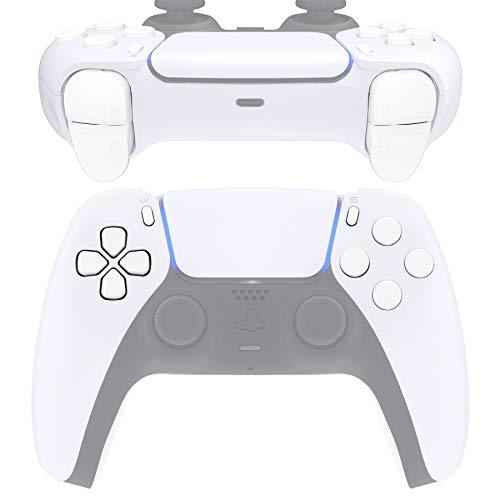 eXtremeRate Ersatz-D-Pad R1 L1 R2 L2 Triggers Share Options Gesichtstasten für DualSense 5 PS5 Controller, weiße Komplettset-Tasten, Reparatur-Sets mit Werkzeug für Playstation 5 Controller