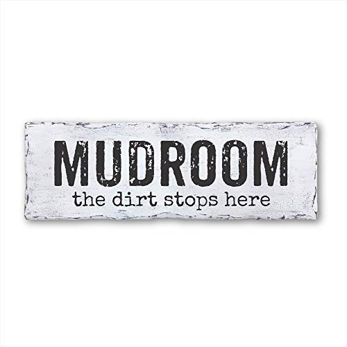 Mudroom The Dirt Stops Here, Housewarming Gift, Vintage Wood Sign Rustic Wooden Signs Wood Block Plaque Wall Decor...
