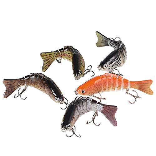 BUONDAC 5 Pezzi Esche Artificiali Realistico Spinning Multi-snodato 10cm 16g 7 Segmenti 3D Luccio Pesciolino Realistico Trota Fishing