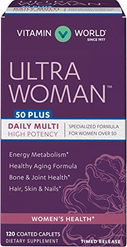 Vitamin World Ultra Woman 50 Plus Daily Multivitamin | Feat. Biotin, Vitamins B, C, D, E, Calcium, Zinc, Selenium, Beta-Carotene | Health & Wellness Multi-Supplement for Women Over 50, 120 Caplets