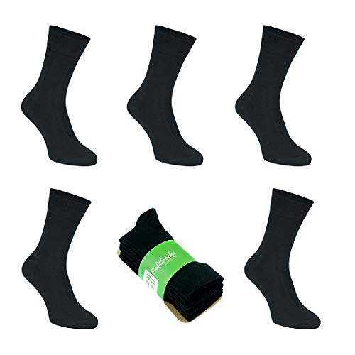 SoftSocks calzini molli calzini neri molle eccellente di bamb unisex, un comfort ottimale - Ideale per lavoro, sport e tempo libero, 5-pack! TRASPIRANTE! (EU 47-50/ UK 12-14)