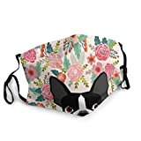 Boston Terrier Dog Florals Outdoor Anti Dust Mask Face Protection for Adult Women Men Black
