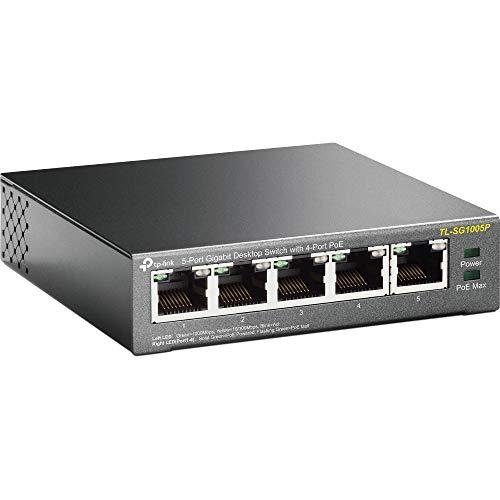 Conmutador de escritorio TP-Link TL-SG1005P, 5 puertos Gigabit 10/100/1000 Mbit, 4 puertos PoE de hasta 56 W, protección contra sobrecargas, facilidad de uso