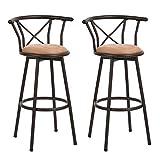 Taburete de bar Juego de 2 sillas de bar Taburetes de bar industriales de estilo vintage con...