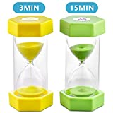 Sand Timer VAGREEZ Hourglass Sand Timer 3 Minutes 15 Minutes Timer Clock Toothbrush Timer for Kids Games Classroom Home Office Kitchen Use (Pack of 2) (Renewed)