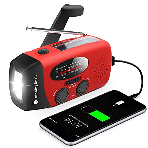 RunningSnail Emergency Hand Crank Radio With LED Flashlight For Emergency, AM/FM NOAA Portable Weather Radio With 1000mAh Power Bank Phone Charger, USB Charged & Solar Power For Camping, Emergency