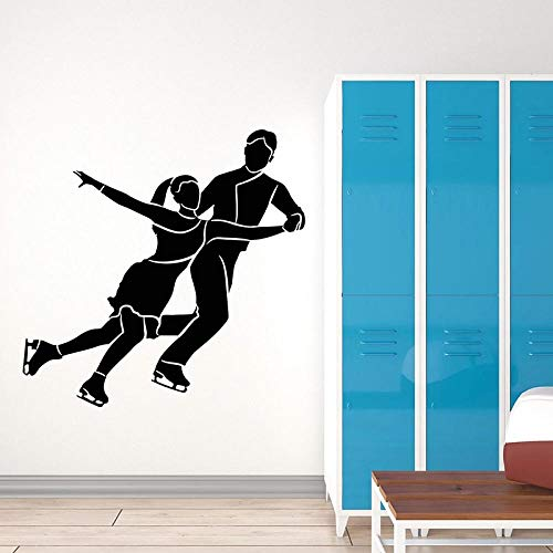 HJYAAA Stickers for Wall,for Decorative Walls, Figure Skating Wall Decal Couple Dancer Sport Games Theme Vinyl Window Stickers Ice Rink Stadium Interior Decor Art