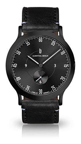 Lilienthal Berlin Unisex Armbanduhr L1 | Prämiertes Design | Qualität Made in Germany (groß 42,5mm, Gehäuse: schwarz/Zifferblatt: schwarz/Armband: schwarz)