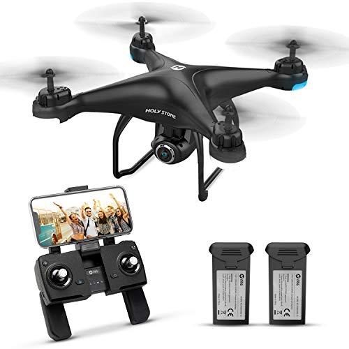 Holy Stone ドローン GPS搭載 カメラ付き 200g以下 最大飛行時間32分 バッテリー2個付き 2K 広角HDカメラ フォローミーモード オートリターンモード モード1/2転換可能 FPVリアルタイム 高度維持 国内認証済み 充電器付き HS120D(アップグレード版)