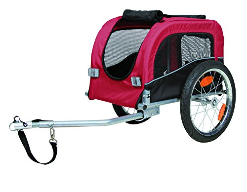 Trixie 12813 Fahrrad-Anhänger, S: 53 × 60 × 60/117 cm, schwarz/rot