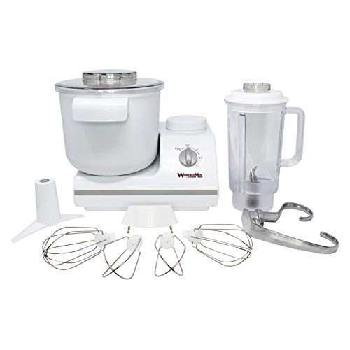 """WonderMix Electric Mixer with Bowl - Versatile Large-Capacity Cake Mixer Machine with 900 Watt Motor and 5.5 Quart Bowl - Electric Stand Mixer with""""Cooking With Chef Brad"""" Cookbook by WonderMill"""