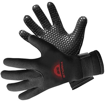 BPS Neoprene 3mm Thermal Gloves with Anti-Slip Palm - Water Gloves for Wetsuit, Kayaking, Rafting, Surf, and Other Water Activities - for Men and Women (Black / Red Brown, Medium)