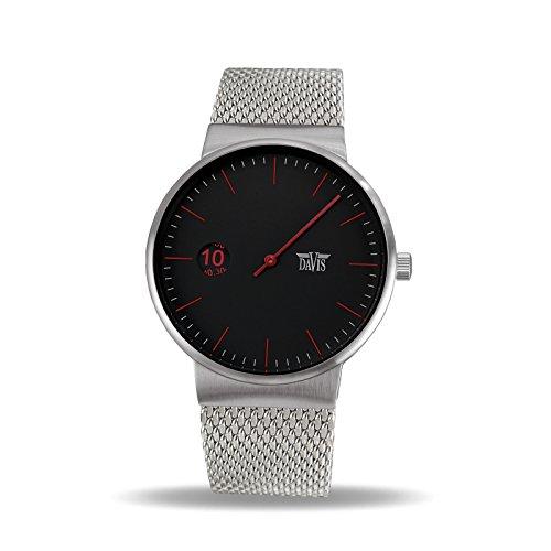 Davis - Herren Einzeigeruhr Design Regulator Mesh Armband (Schwarz)