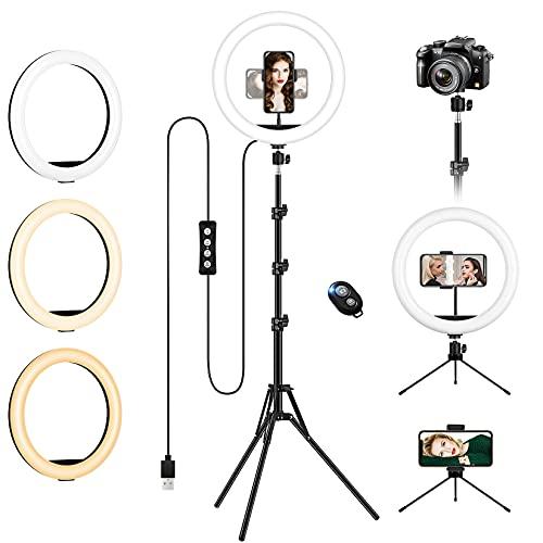 """Aro de Luz con 2 Trípode, 12""""/30.5CM Anillo de Luz LED de Escritorio, Regulable Ring Light Trabaje con Teléfono y una Cámara DSLR para Fotografía, Selfie, Maquillaje, TIK Tok, Youtube y Vídeo"""
