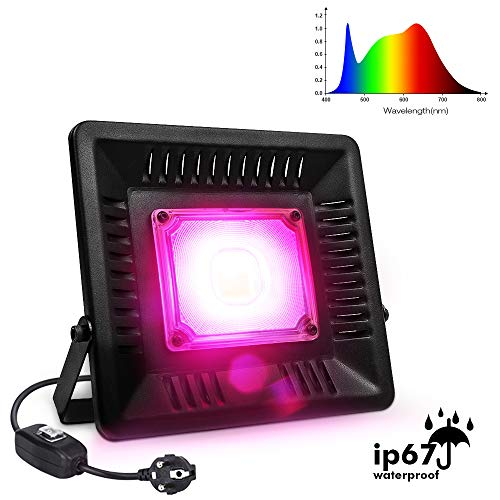 Relassy Pflanzenlampe COB Pflanzenlampe Vollspektrum 50W, Pflanzenlicht IP67 Wasserdicht Grow Light für Zimmerpflanzen, Gewächshaus, Hydrokultur mit 170cm Kabel und EU-Stecker (M-50)