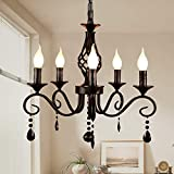 Ganeed French Country Chandeliers,5 Lights Black Crystal Candle Chandelier,Industrial Vintage Pendant Light Fixture Hanging Light for Island Kitchen Dining Room Farmhouse