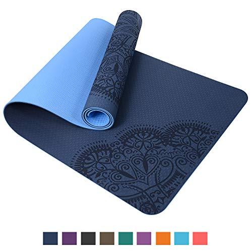 TOPLUS Pilatesmatte Gymnastikmatte,Yogamatte rutschfest aus TPE,Übungsmatte Sportmatte für Yoga,Pilates, Fitness-Hellblau