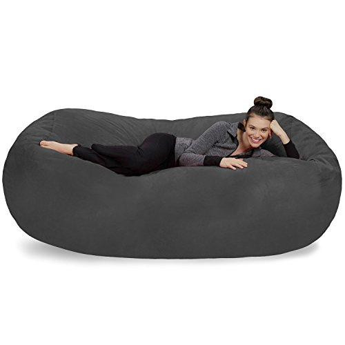 Sofa Sack - Plush Bean Bag Sofas with Super Soft Microsuede Cover - XL Memory Foam Stuffed Lounger Chairs for Kids, Adults, Couples - Jumbo Bean Bag Chair Furniture - Charcoal 7.5'
