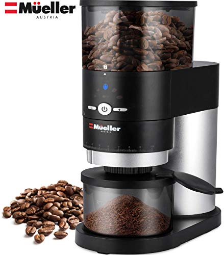 Mueller Ultra-Grind Conical Burr Grinder Professional Series, Innovative Detachable PowderBlock Grinding Chamber for Easy Cleaning and 40mm Hardened Gears for Long Life 1