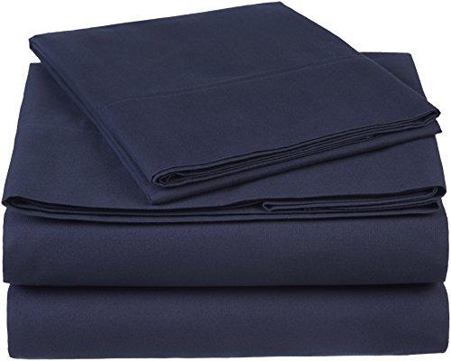 Pinzon 300 Thread Count Organic Cotton Bed Sheet Set - Twin, Navy Blue