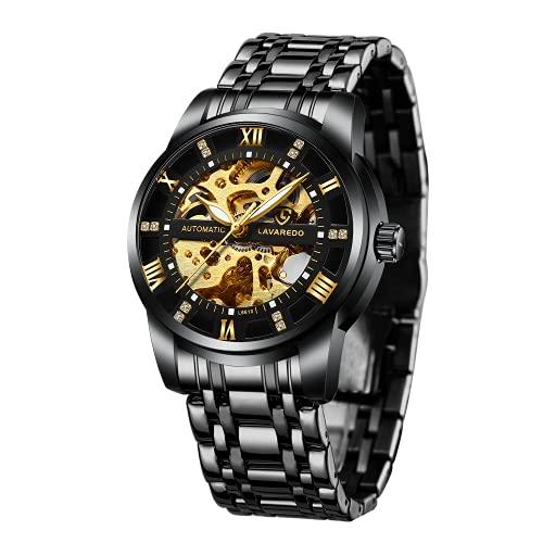 A ALPS Herren Uhren Automatikuhr Mechanische Skelett Glasboden Römische Zahlen Diamant Zifferblatt Wasserdicht Schwarz Männer Armbanduhr mit Edelstahl Armband