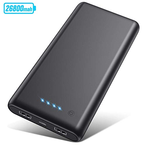 Portable Charger 26800mAh2020 Upgrade High CapacityPower Bank Ultra Compact External Battery Pack Backup with 4 LED Lights,Dual USB Ports High-Speed Charging for Cell Phones, Tablet and More (Black)
