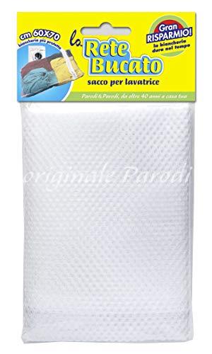 PARODI & PARODI 374 Rete 60x70cm, Borsa, Sacca per Protezione, Sacco bucato Ideale per Tutti Gli Indumenti, Proteggi Vestiti Biancheria Lavatrice, Neutro, Standard