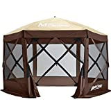 MASTERCANOPY Escape Shelter, 6-Sided Canopy Portable Pop up Canopy Durable Screen Tent Bug and Rain Protection (6-8 Person), (120x120, Beige&Coffee)
