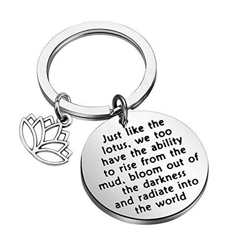 LQRI Lotus Keychain Yoga Karma Inspirational Keychain Best...