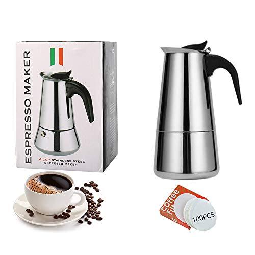 Espressokocher Induktion Geeignet | 2, 4, 6, 9, 12 Tassen | Edelstahl Moka Pot Espresso Kaffeemaschine Herd | Alu-frei Mokkakanne Espressokanne | mit 100 Stück Papierfilter, 2 Tassen(100ml)