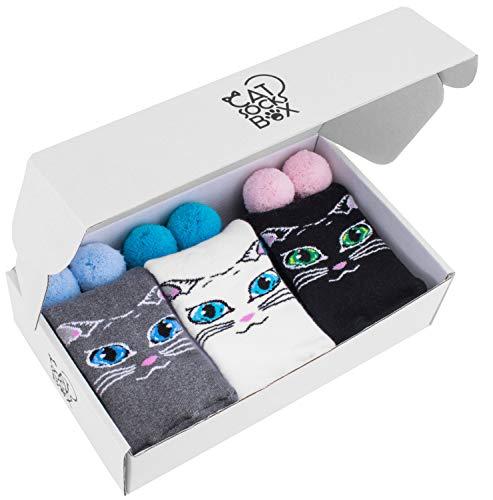 Rainbow Socks - Donna Gatto Calzini di Spugna - Cat Socks Box - 3 paia - Multicolore - Tamao 36-40
